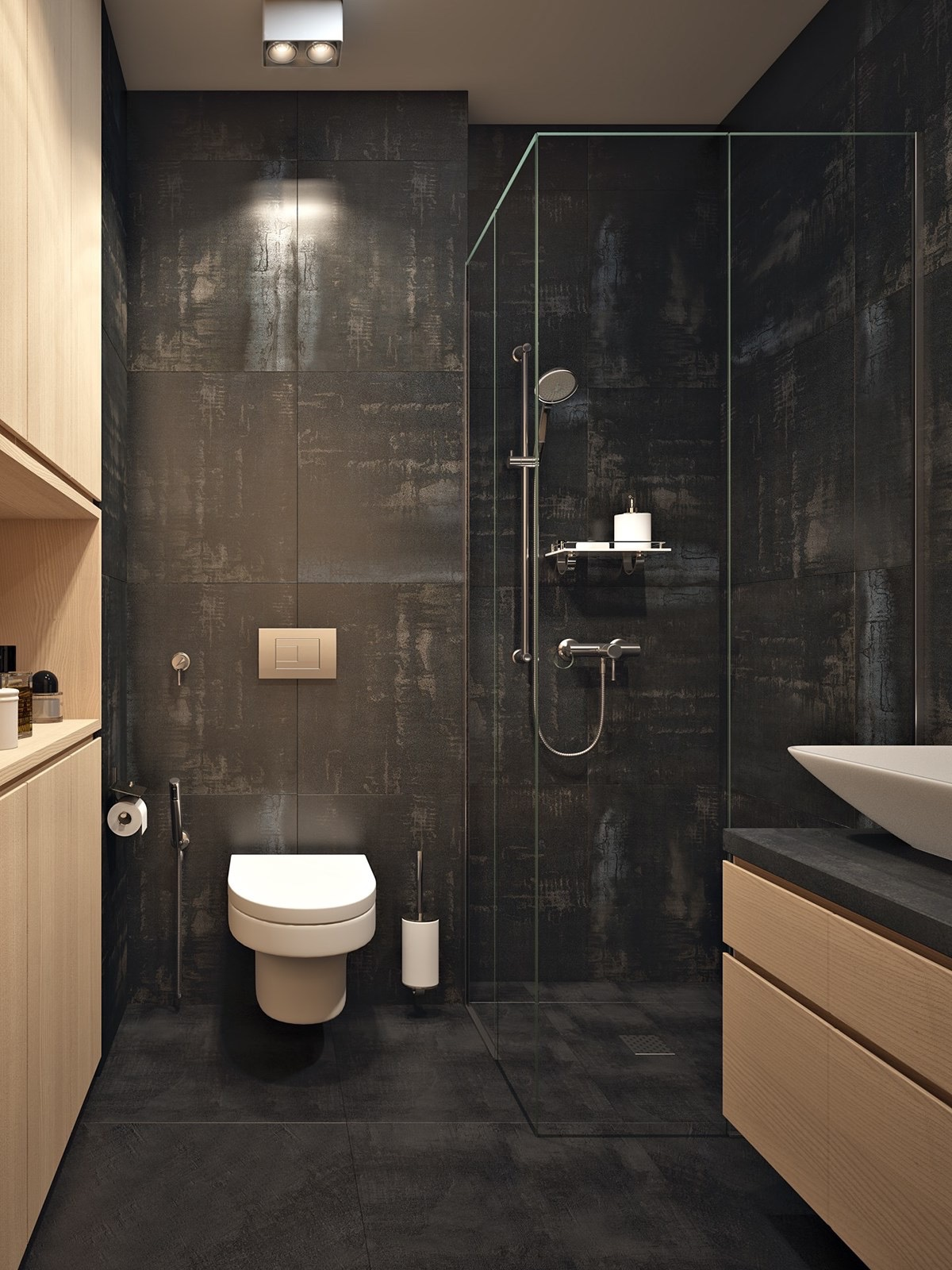 black and wooden bathroom
