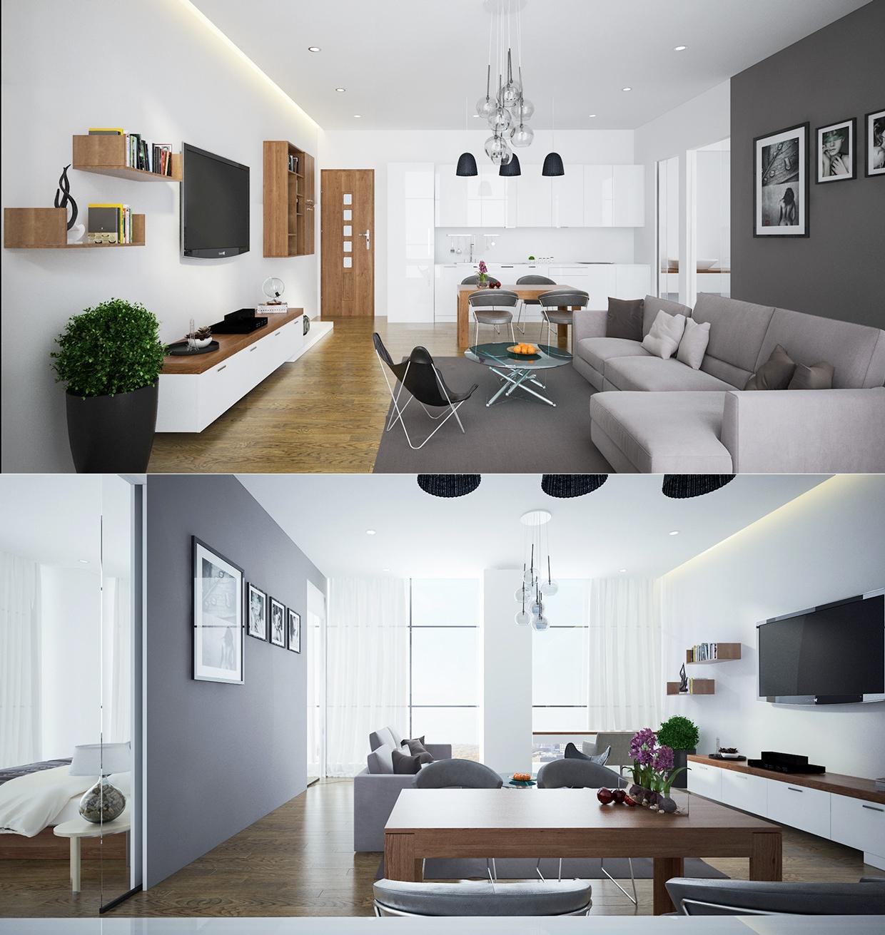 white open plan apartment design ideas