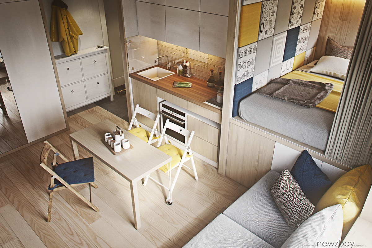 3 types of tiny home designs which arranged with simple and modern
