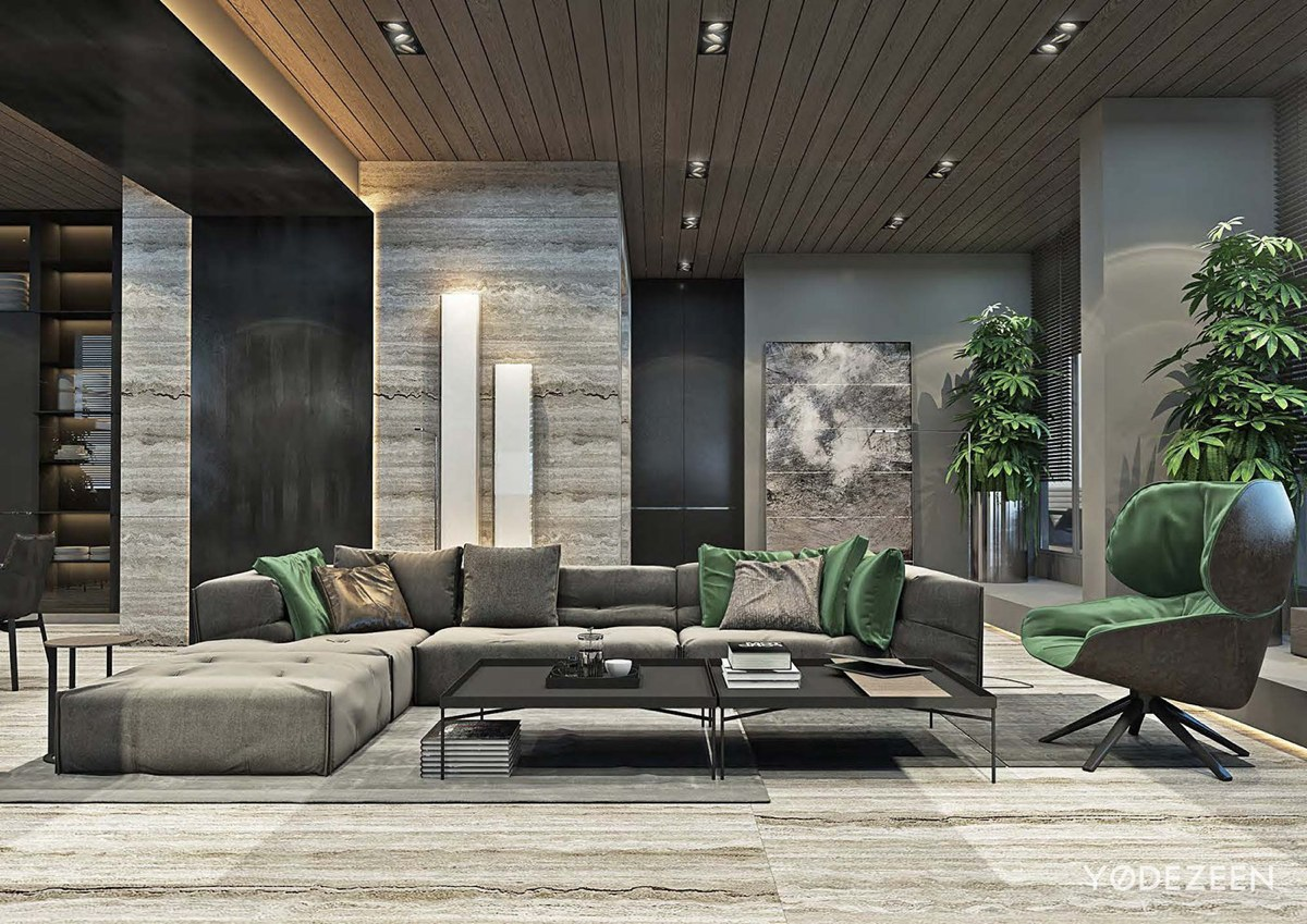 Luxurious apartment design arranged by a contemporary and organic ...