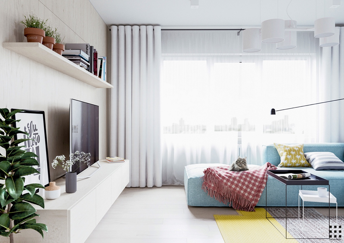 scandinavian apartment design with beautiful and cute