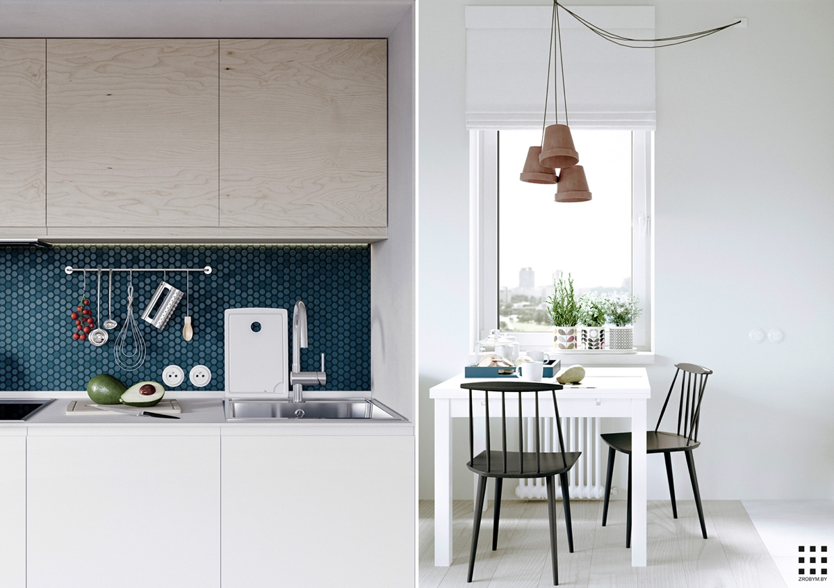 Scandinavian apartment design with beautiful and cute for Kitchen set scandinavian