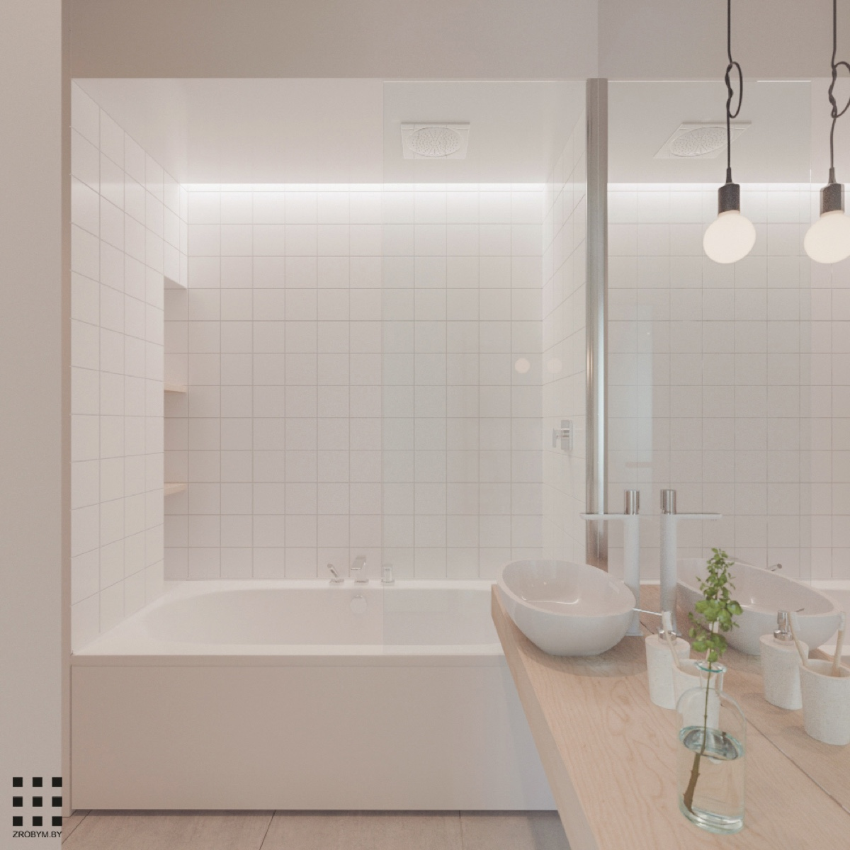 white scandinavian bathroom design