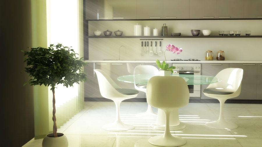 white simple open shelves kitchen