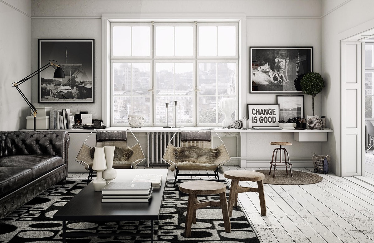 monochrome minimalist living room