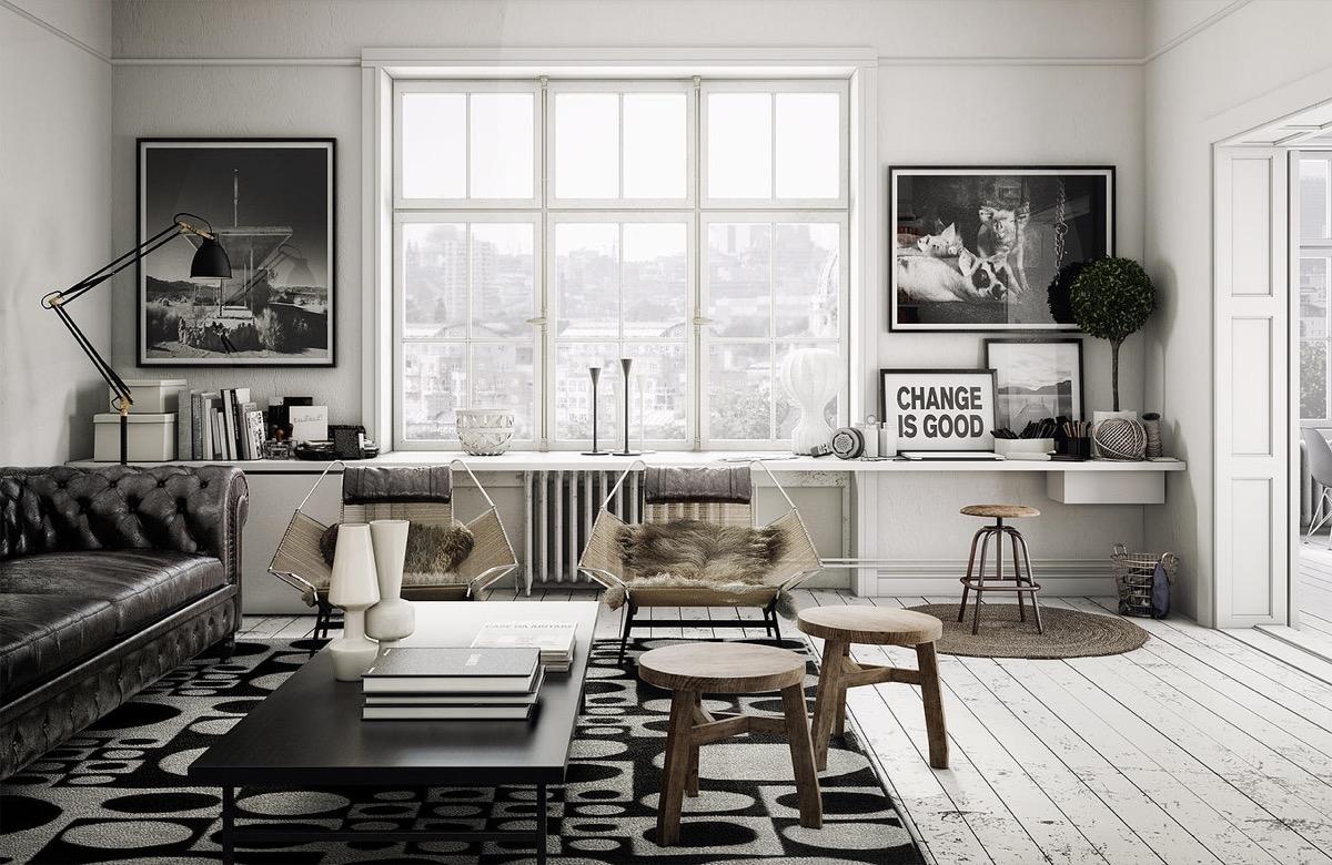 monochrome minimalist living room
