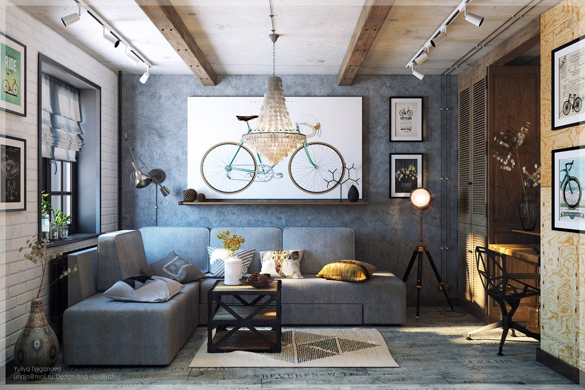 Eclectic-Hispter-Living-Room-Bike-Art