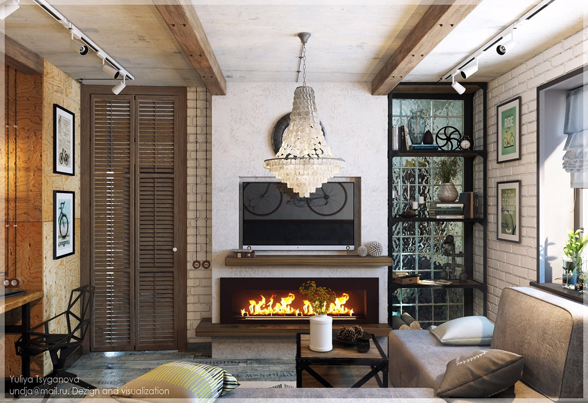 Eclectic-Living-Room-Modern-Fireplace