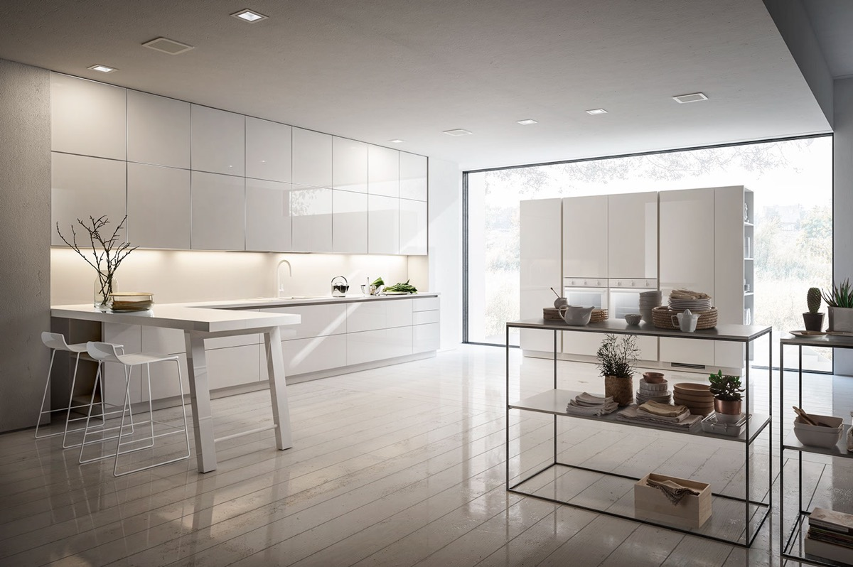white minimalist kitchen decor