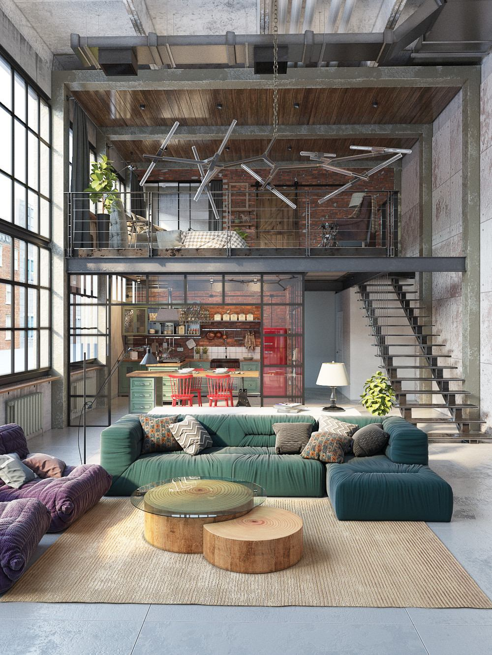 gray industrial living room