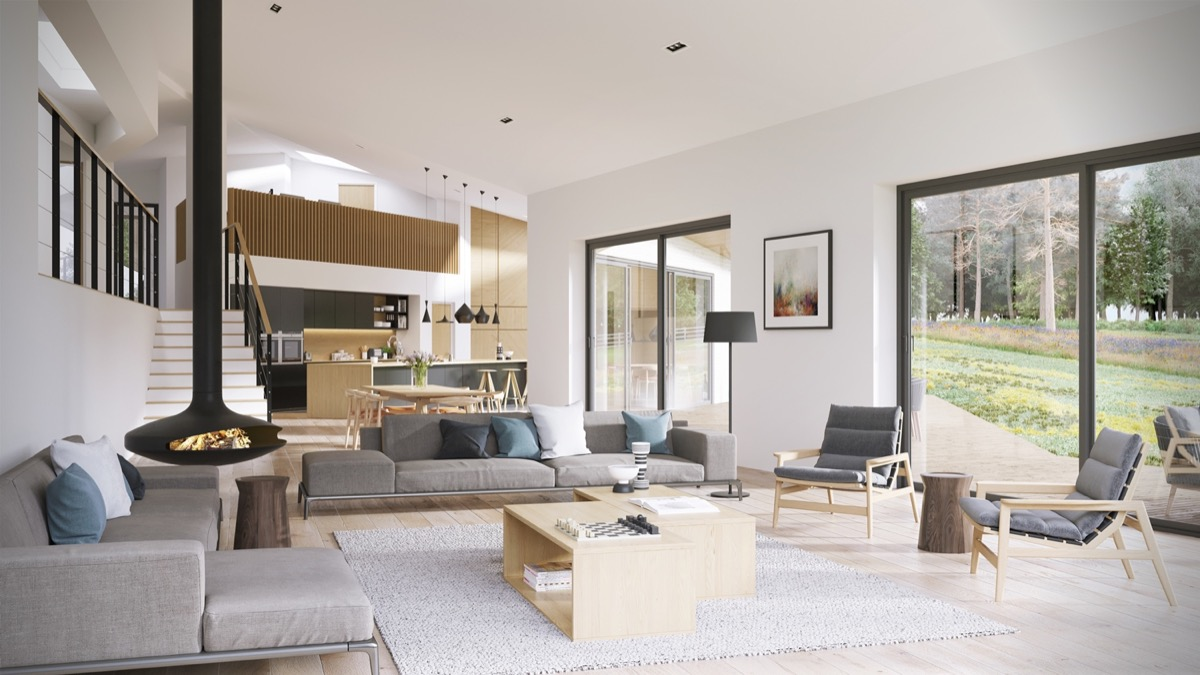 The best open plan interior designs which applied with for Open floor plan decor