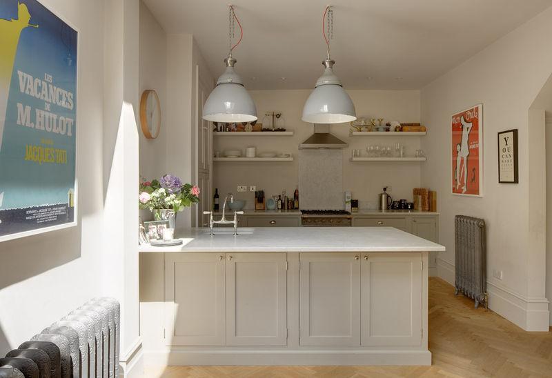 minimalist white open kitchen shelves