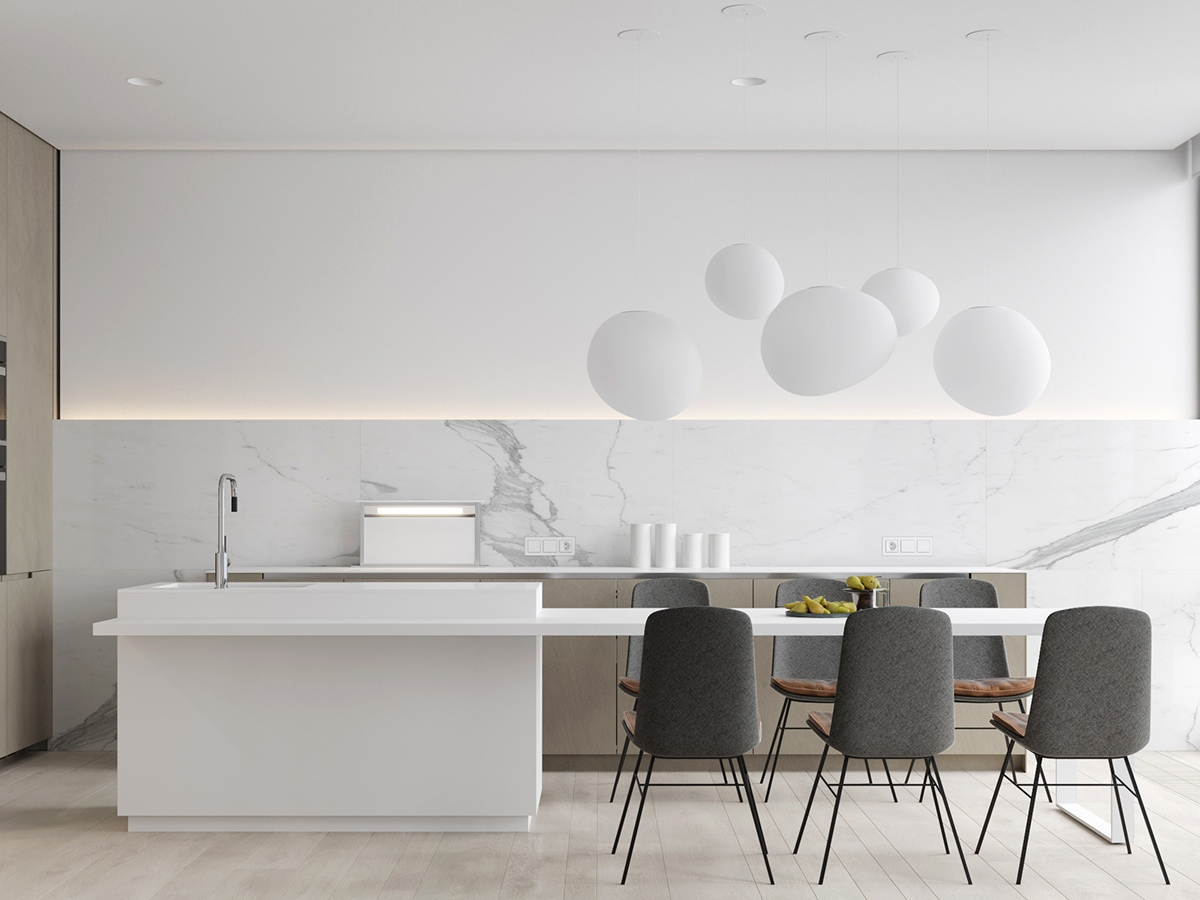 white kitchen with beautiful lighting