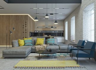 chic open plan living room