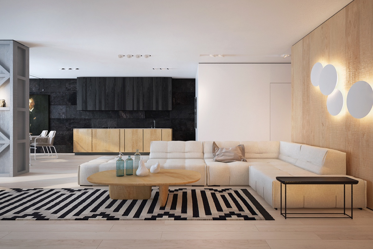 Contemporary Home Interior Design Ideas Which Decorated With Black White And Wooden