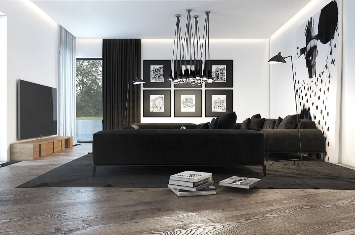 trendy monochrome living room design