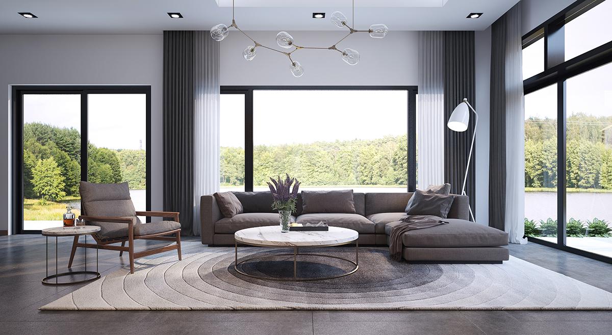 white chic living room design
