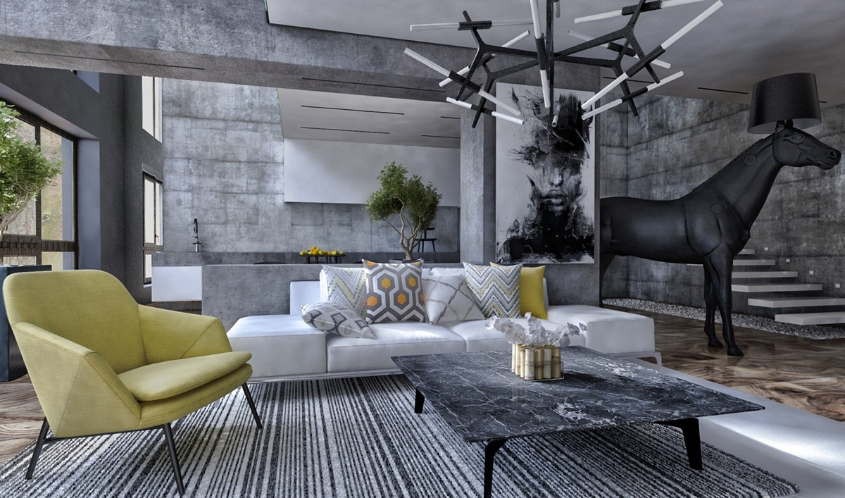 luxurious gray living room
