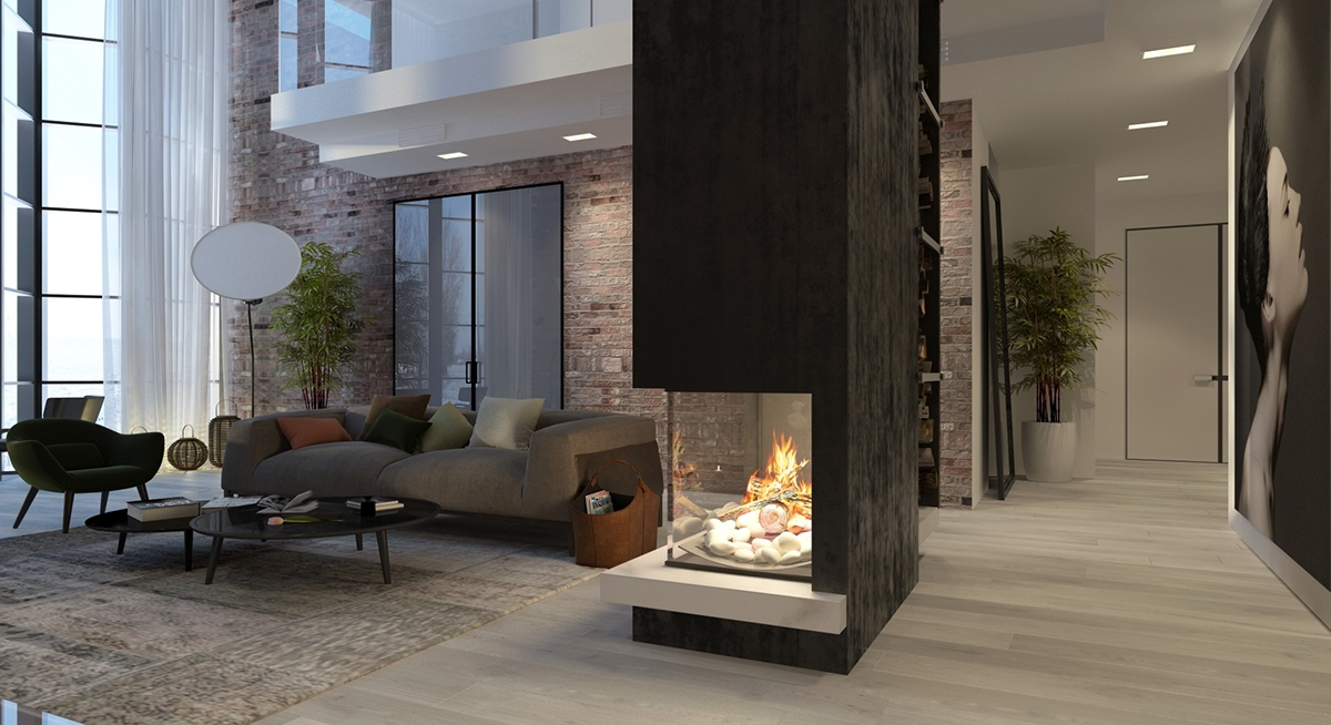 Delightful Kupinskiy U0026 Partners Atrium Living Room Fireplace Inspiration