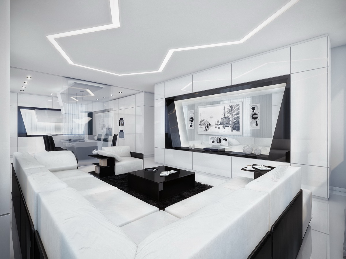 black-and-White-Modern-Living-Room-geometric