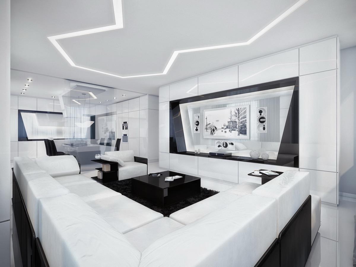 black-and-White-Modern-Living-Room-geometric