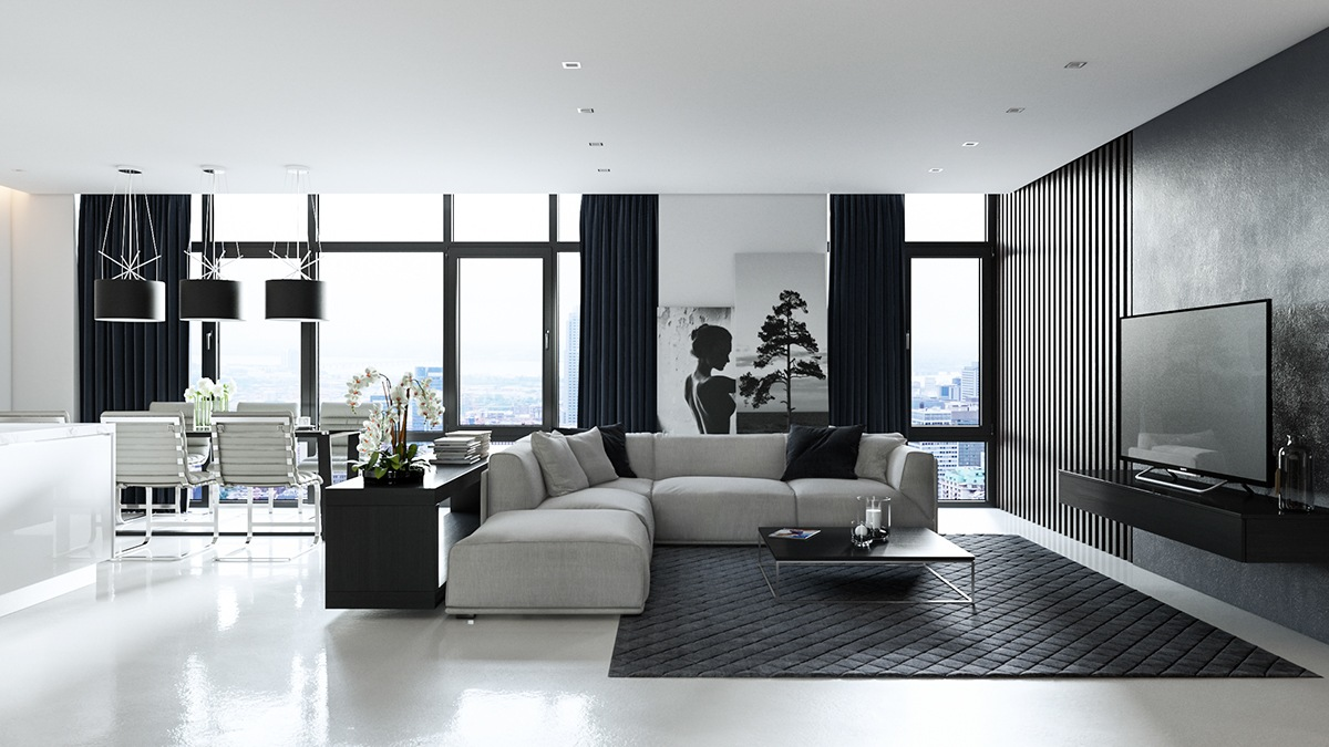 open plan monochrome design