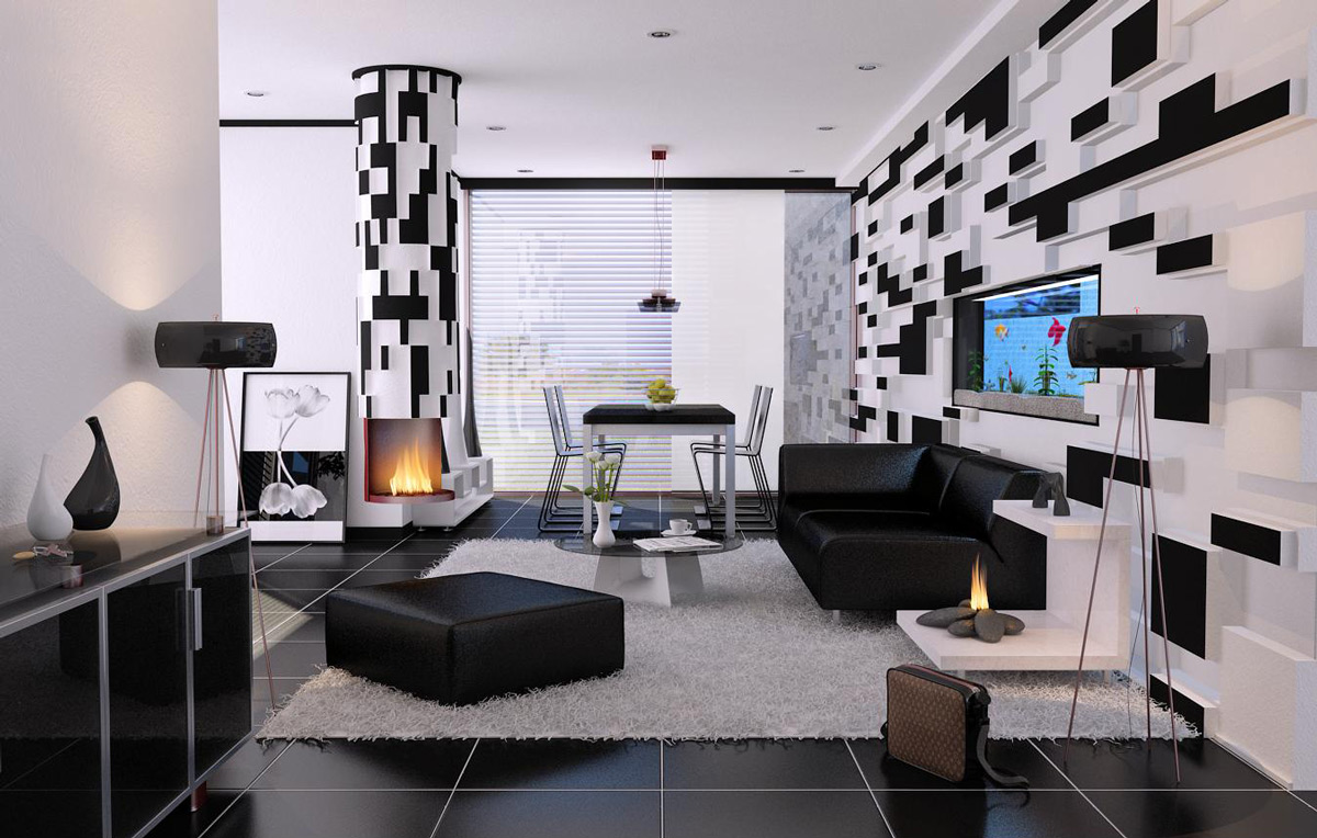 black-and-white-living-room-interior-designs-geometric-black-and-white-wblack-ottoman-glass-cabinet-modern-fireplace-large-window
