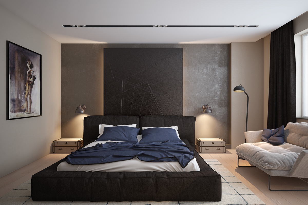 black-futon-bed-grey-walls-contemporary-bedroom