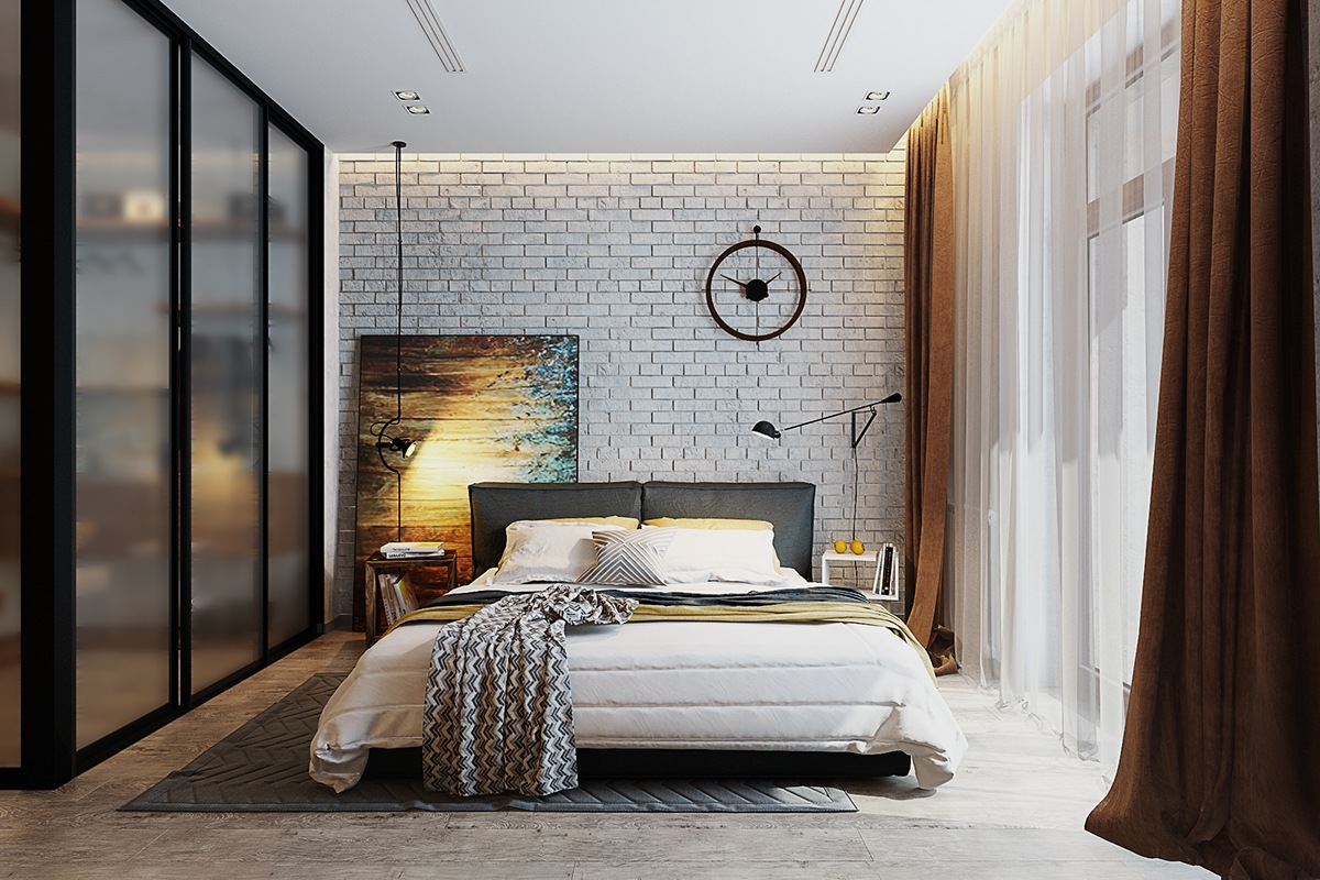 contemporary-glass-and-exposed-brick-bedroom