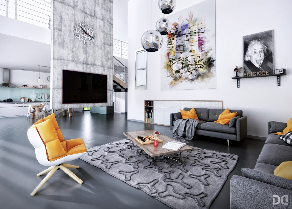 double-height-living-room-with-art-work