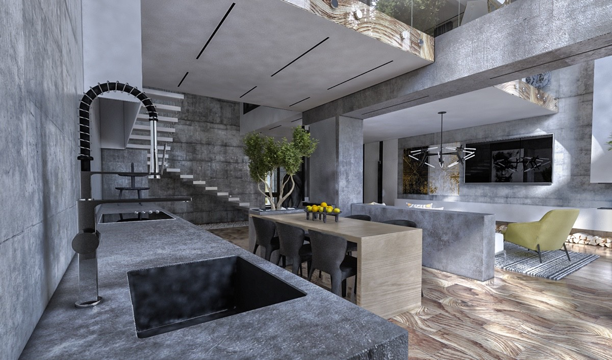 modern gray kitchen set