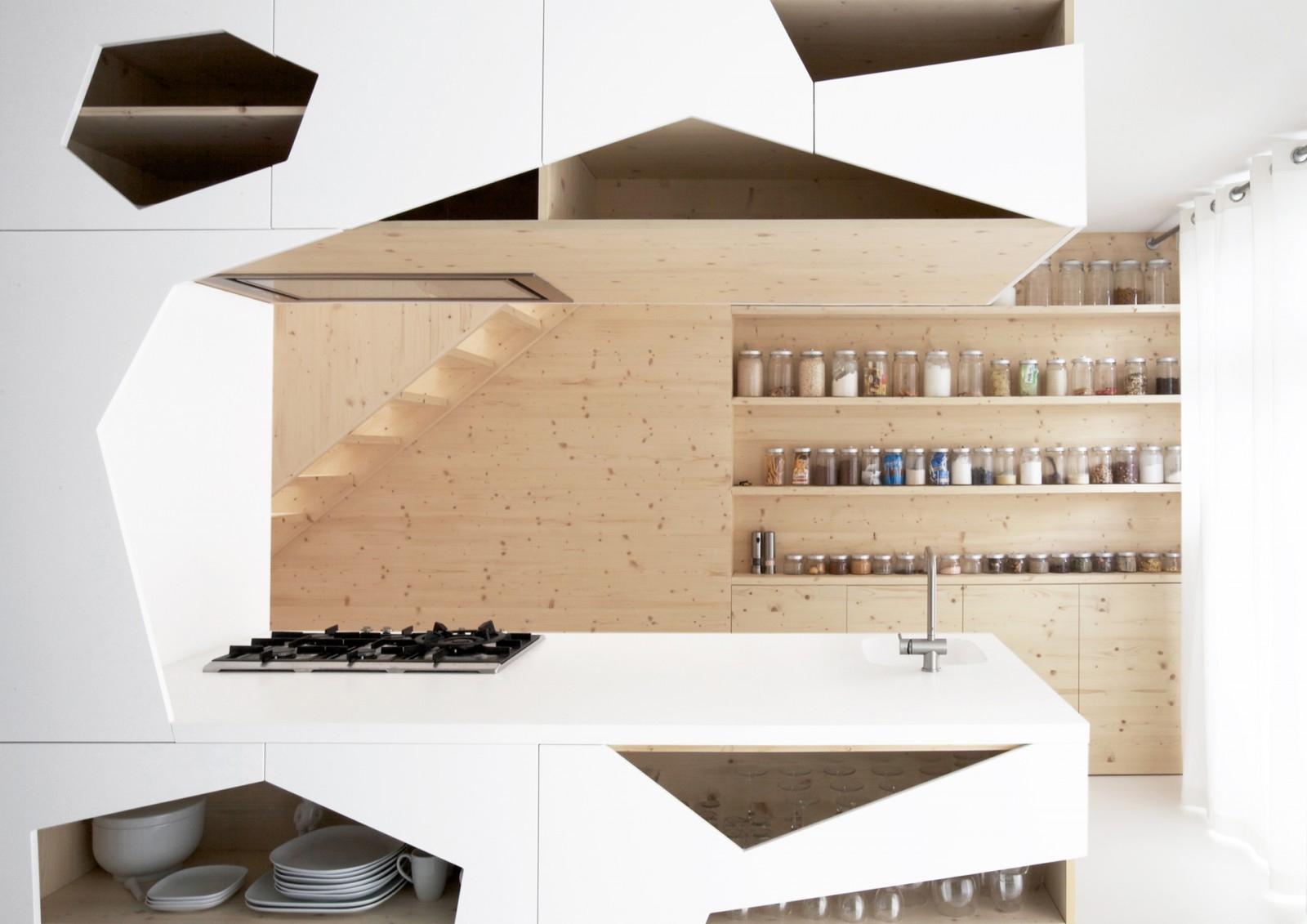 white minimalist wooden kitchen