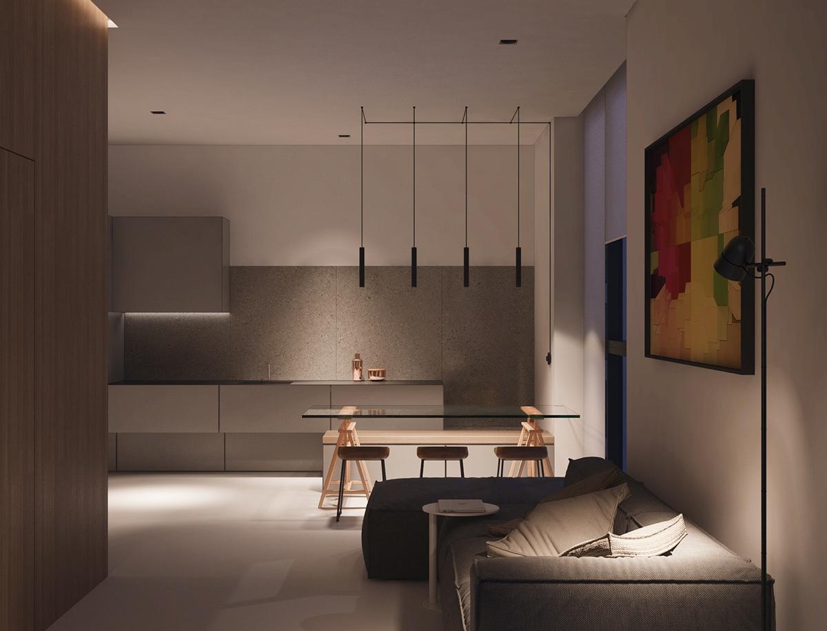 monochromatic-kitchen-with-art-work