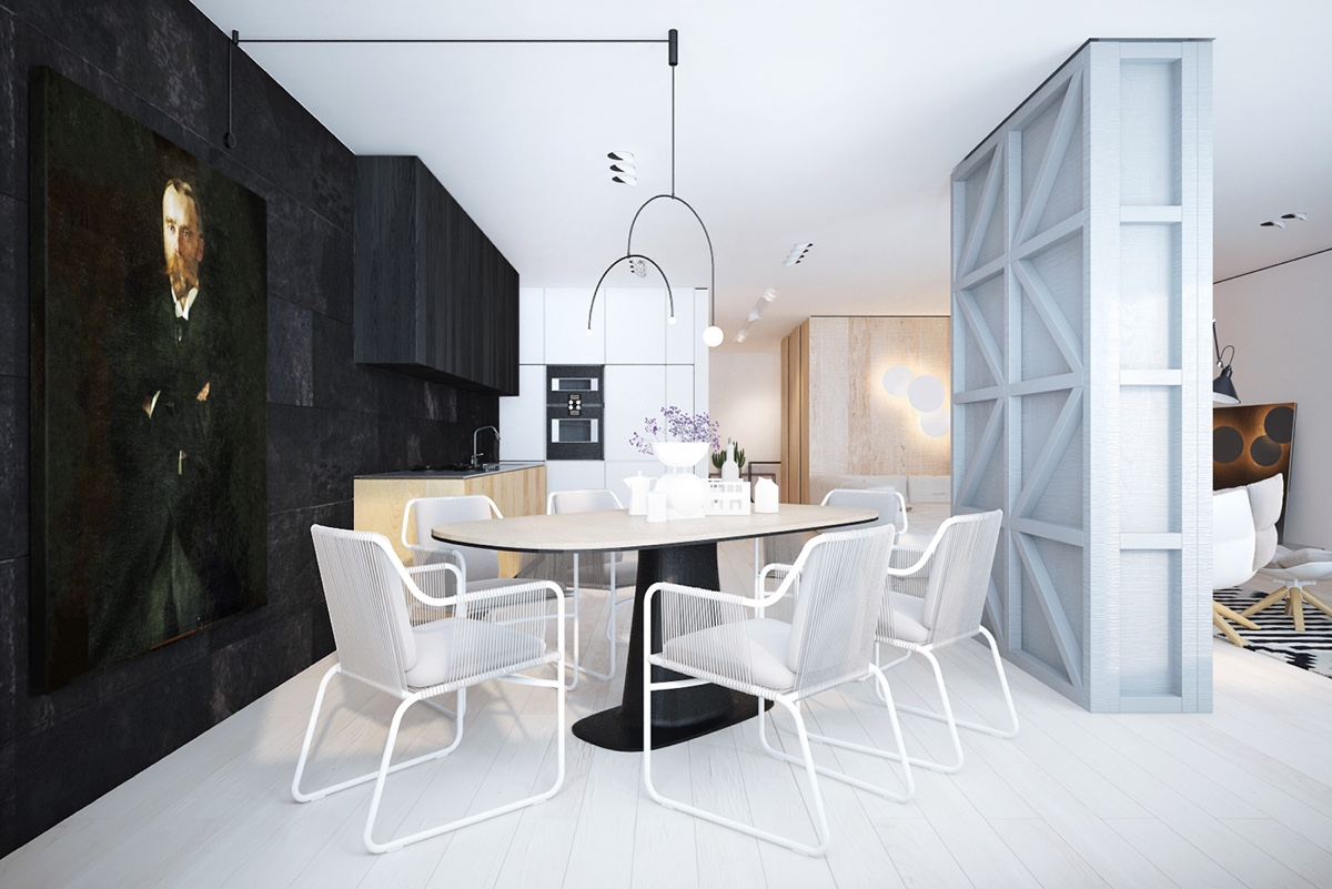 white-wood divider-monochrome-dining-room