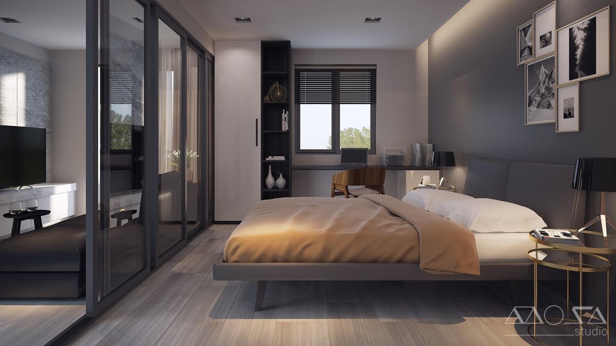 fashionable dark bedroom