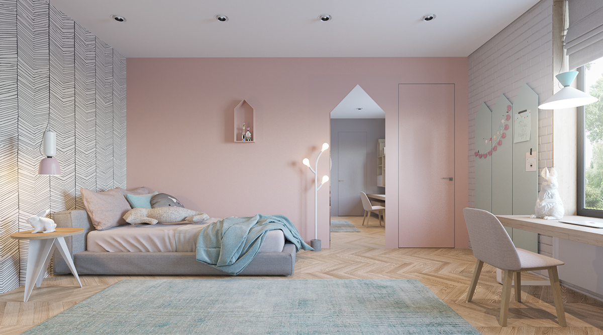 modern and cute girls bedroom