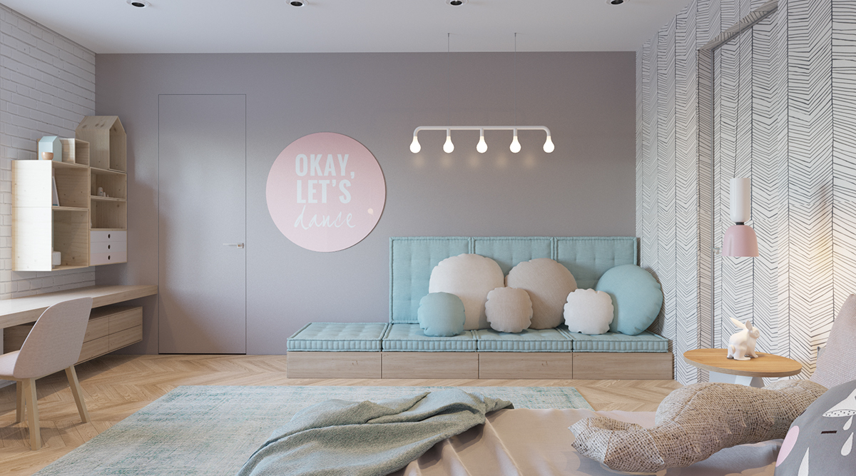 gray and pink bedroom design