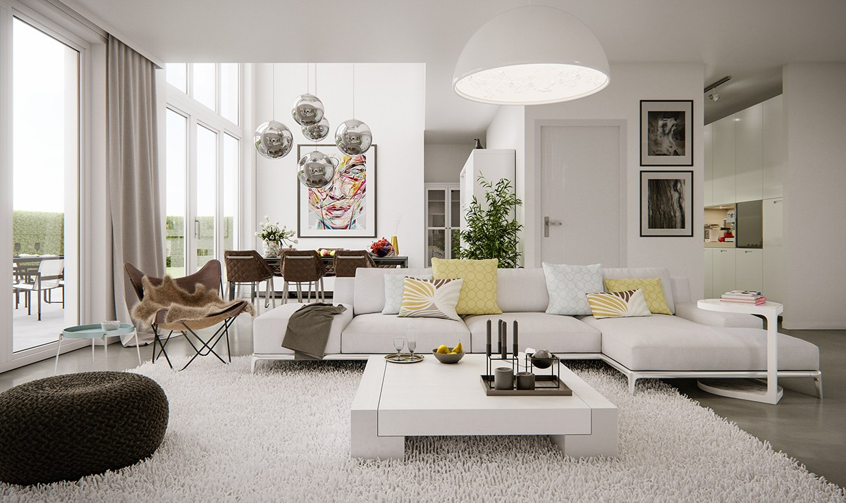 chic open plan living room