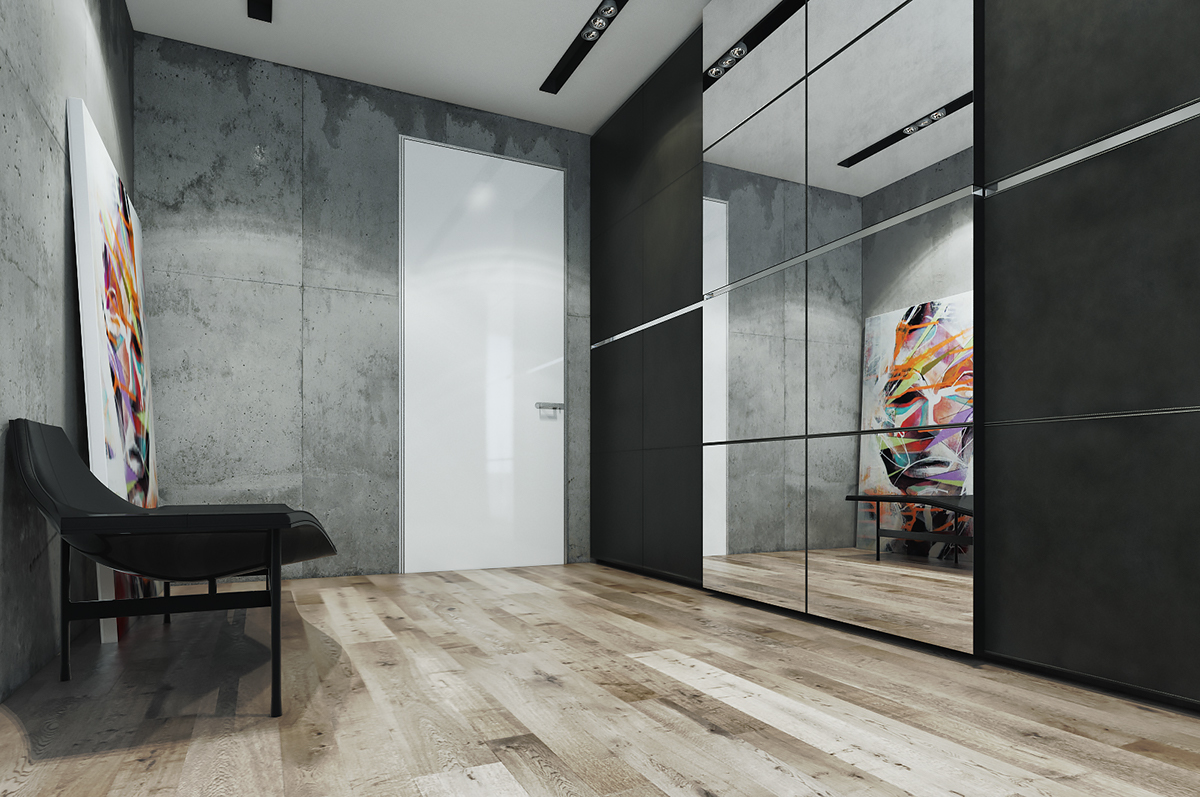 modern gray wardrobe design