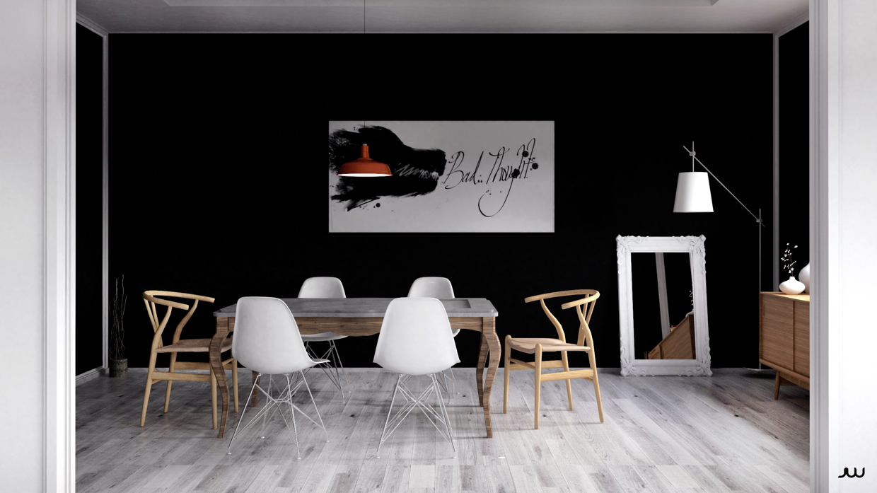 abstract-artwork-black-wall-monochrome-eating-area
