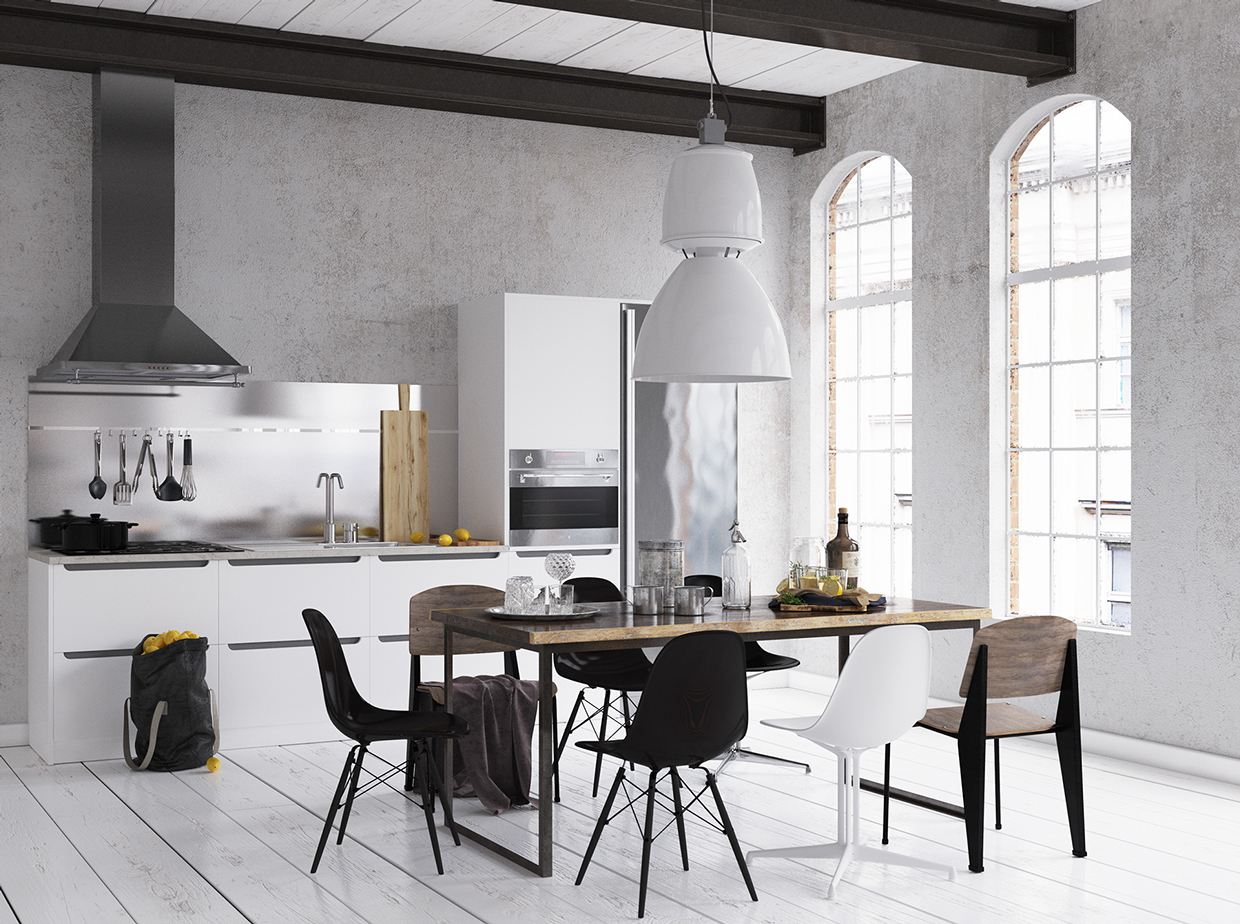 arched-windows-painted-wooden-floors-black-and-white-dining-room