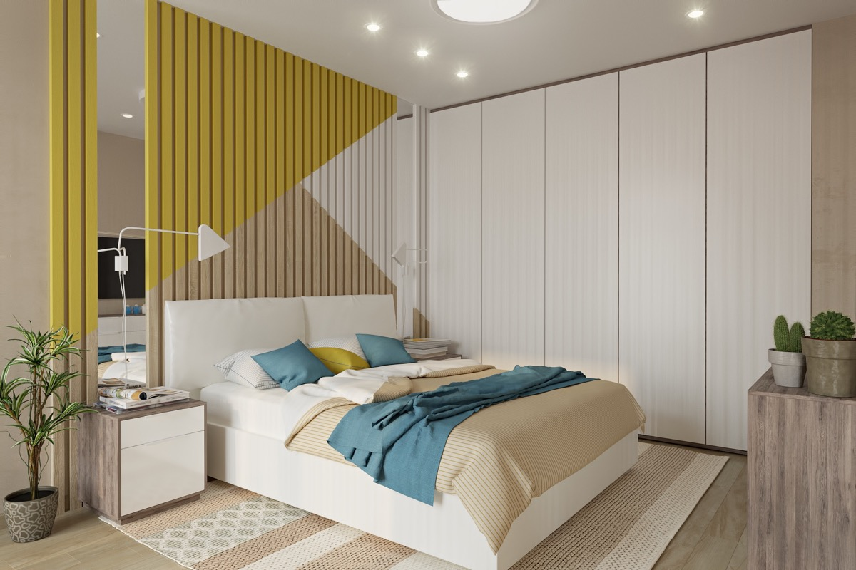 bedroom-accent-wall-colored-slats-triangle-pattern