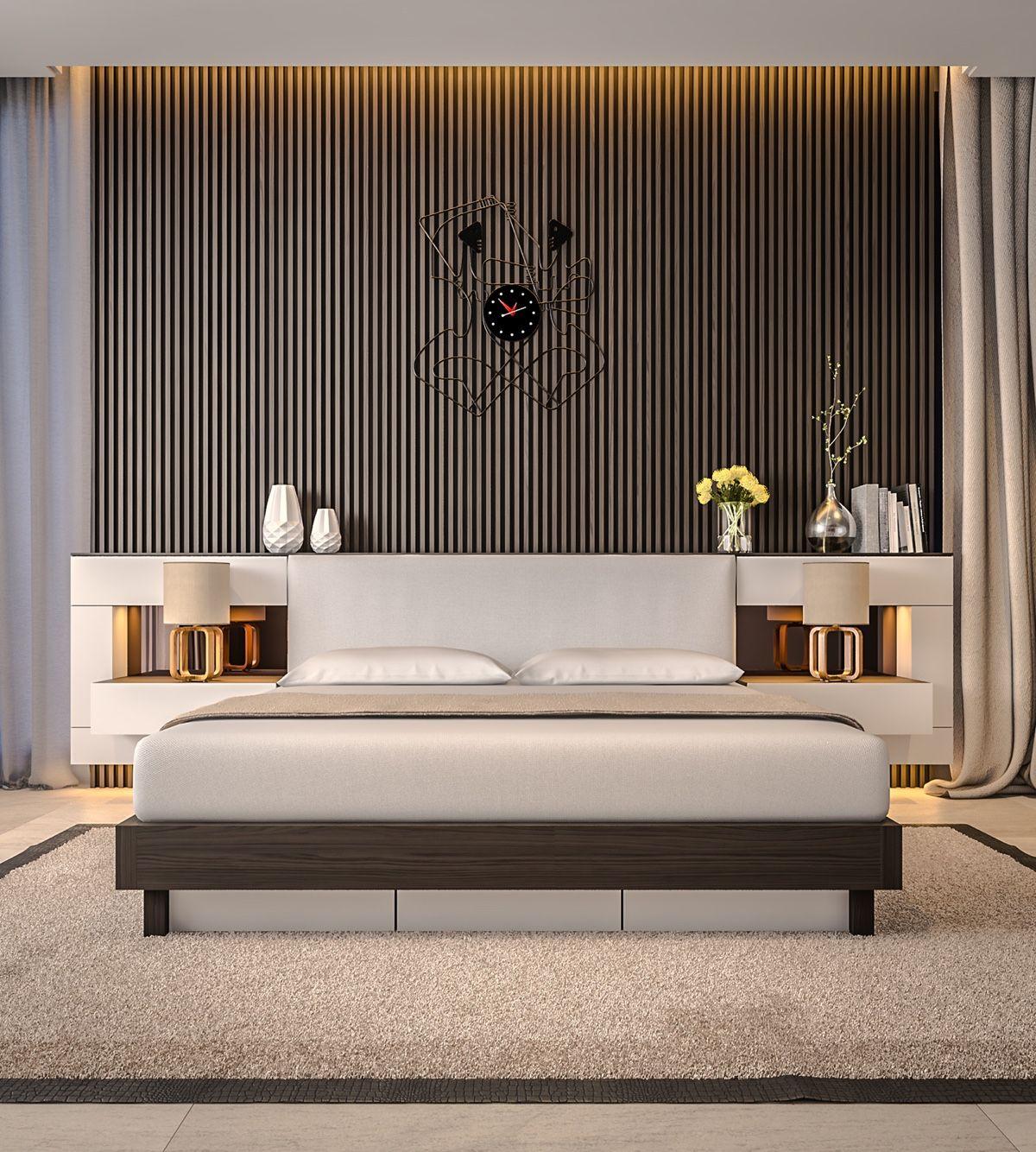 bedroom-accent-wall-grey-slats-artistic-clock