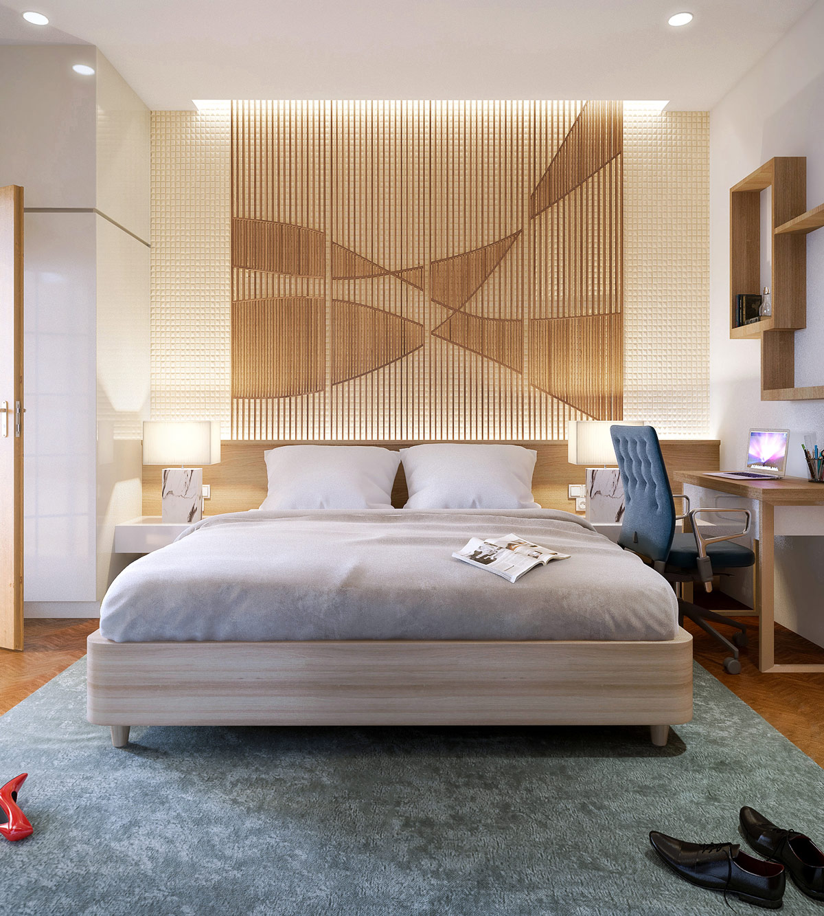 bedroom-accent-wall-slats-intertwined-pattern