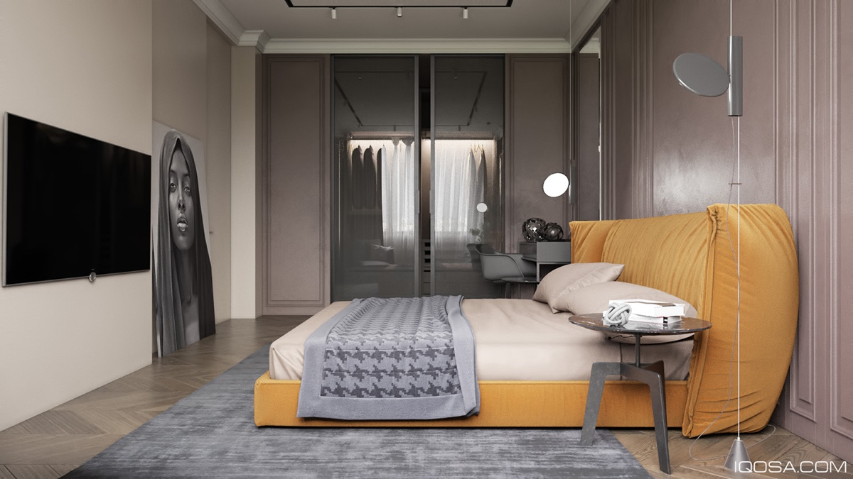yellow and dark bedroom design