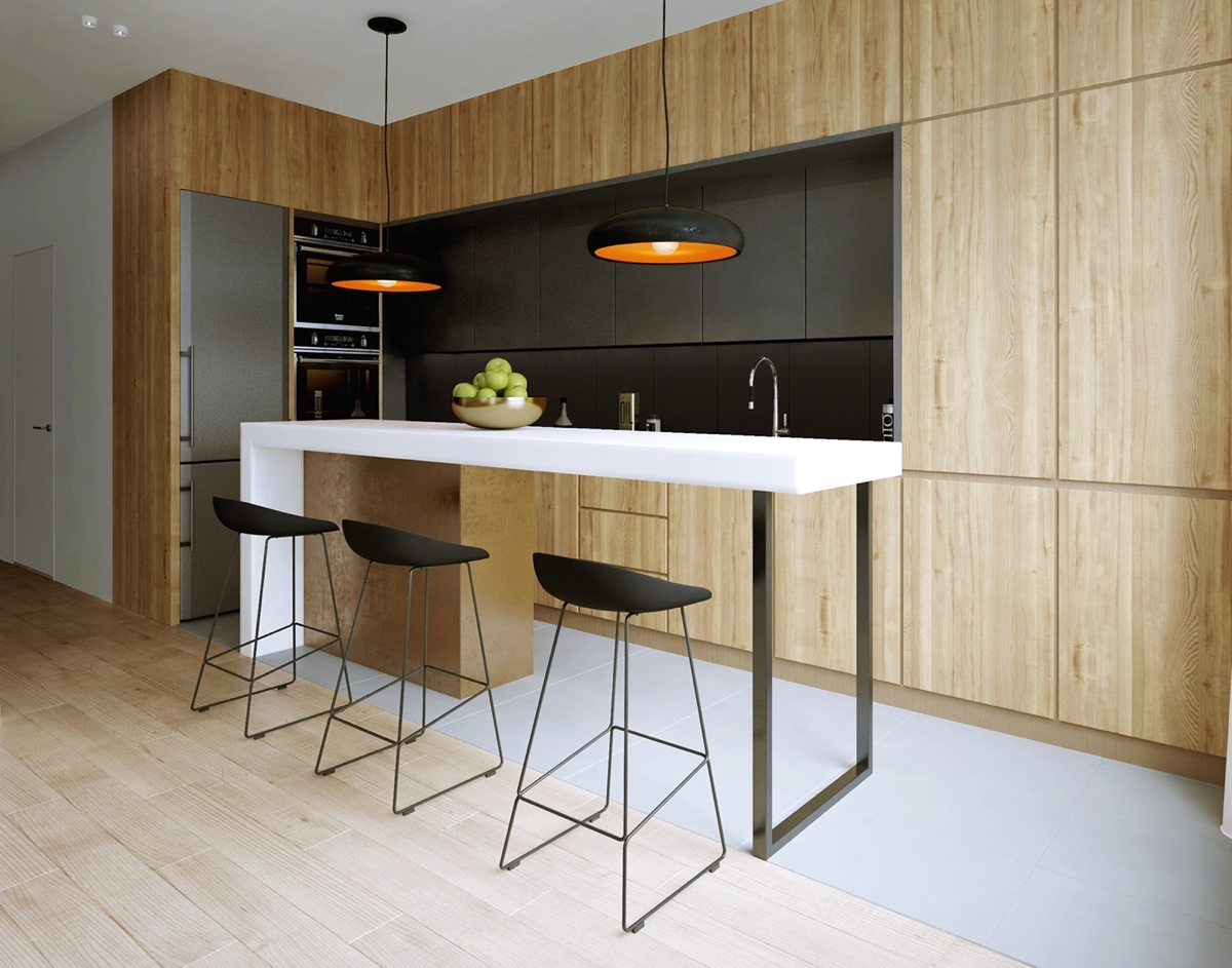 black-and-wood-compact-kitchen-design
