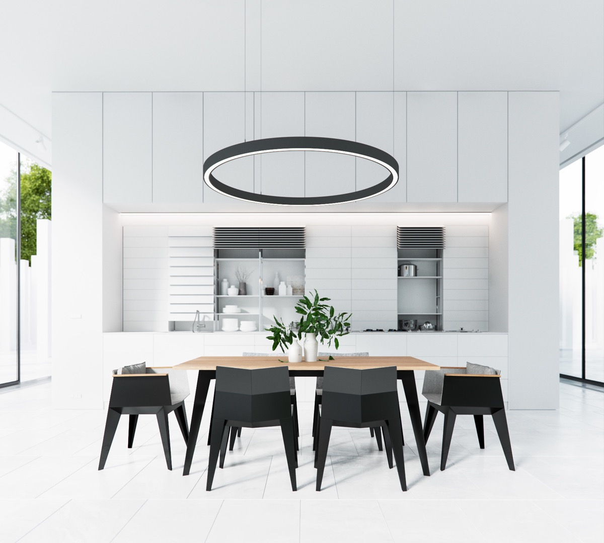 circular-pendant-light-greenery-vase-black-and-white-dining-room