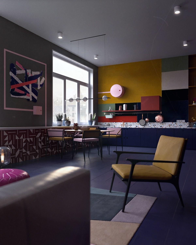 colorful-room-tiled-floors-wall-art