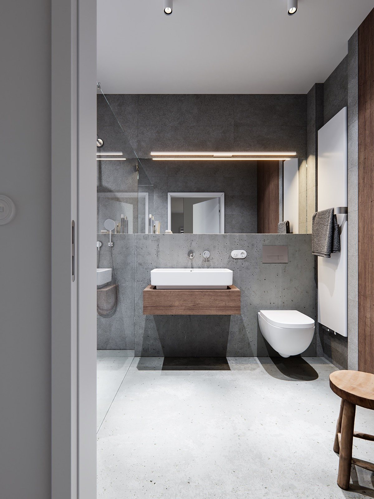 Wood Bathroom Decorating Ideas ~ Trendy bathroom designs combined with modern and geometric
