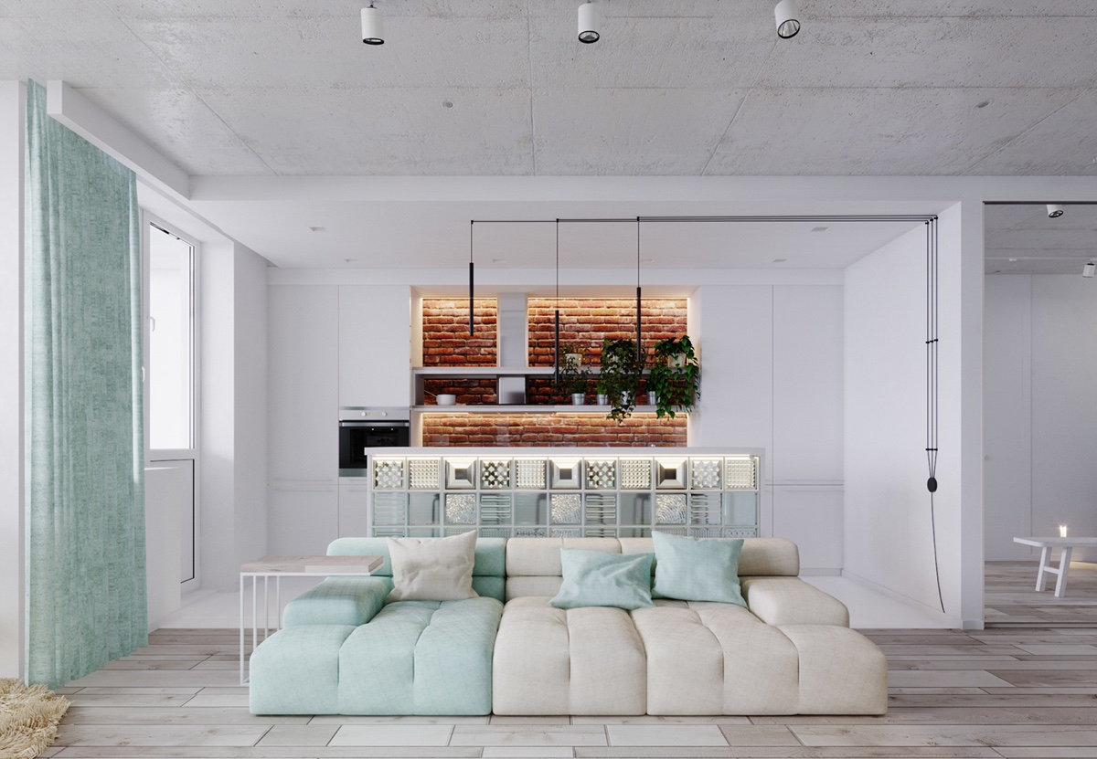 cute-mint-and-white-living-room-design
